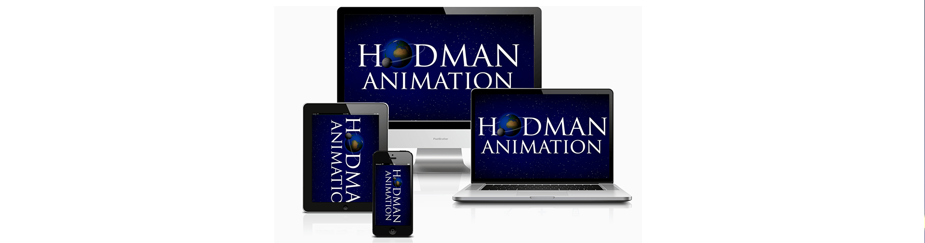 Hodman Animation logo on different devices